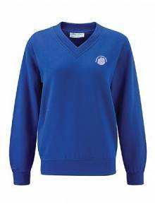 AJ007 - Deep Royal V Neck Sweatshirt - 3SVQ