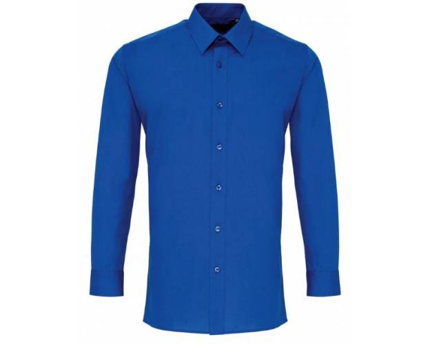 Premier Mens Long Sleeve Fitted Poplin Shirt - PR204Q