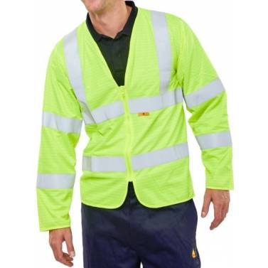 B-SEEN FIRE RETARDANT HI-VIS JERKIN SATURN YELLOW - CFRPKJQ
