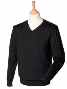 Henbury 12 Gauge V-neck Jumper - HB720Q