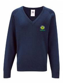 AJ908 - V-Neck Acrylic Jumper Navy Boys