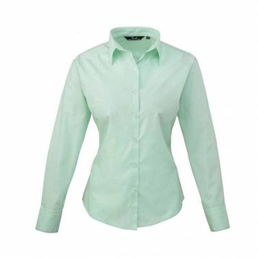 Premier Women's Stretch Fit Cotton Poplin Long Sleeve Blouse - PR344