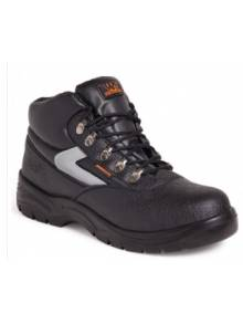Black Buffalo Grain Leather Safety Boots - SS601SMQ