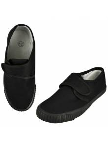 Junior Black Velcro Plimsolls - PLV