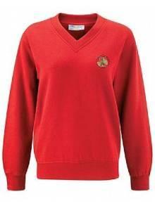 AJ123 Red V-Neck Sweatshirt