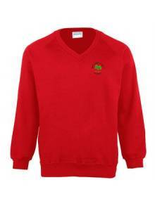 AJ550 - Kids Coloursure™ V Neck Red Sweatshirt